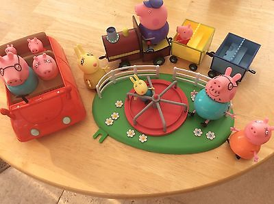 ** Peppa Pig Toy Bundle **car -train-roundabout-figures.