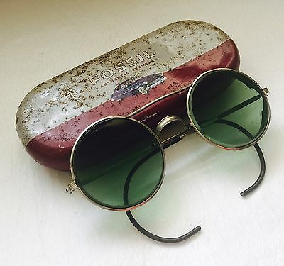 ANTIQUE Silver Tone AO Safety GOGGLES with Metal Case