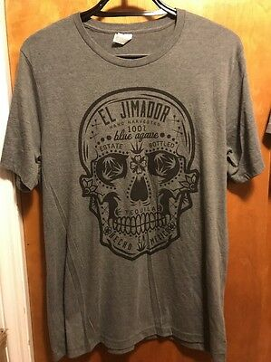 EL JIMADOR 100% Blue Agave Tequila ~ Men's XL ~ SUGAR SKULL 2 Sided  T Shirt