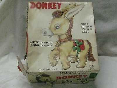 1960's BATTERY OPERATED REMOTE CONTROL DONKEY in Box  #248. Japan
