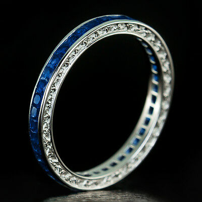 1.24ct VINTAGE FRENCH CALIBRE BLUE SAPPHIRE ETERNITY WEDDING BAND STACKING RING