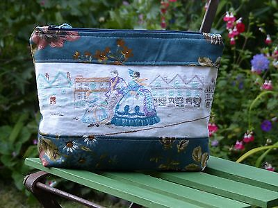 Vintage Hand Embroidered Crinoline Lady Victorian Scene Zipped Purse Pouch