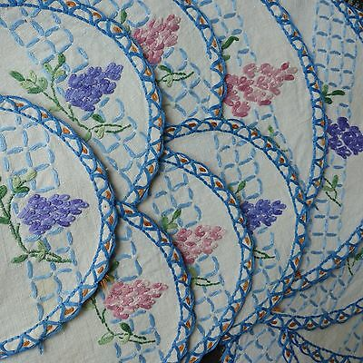 VINTAGE HAND EMBROIDERED FLORAL, ? wisteria PLACE MATS