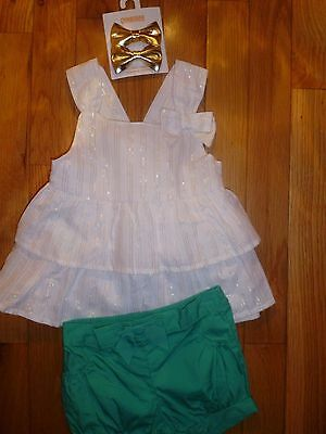 2 T 18 24 M Gymboree Green Gold Striped Swinng Top Outfit Bloomers Baby Girl NWT