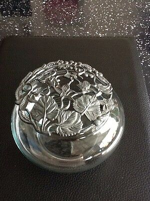Vintage Glass Pot Pourri Bowl with Metal Lid