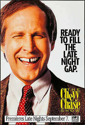 """RARE The CHEVY CHASE SHOW 1993 One Sheet 27"""" X 41"""" Advance Poster FOX TALK SHOW"""