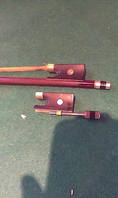 "Antique Violin Bow With Seized Frog - Spare Frog Supplied With It - 28.5"" Long"