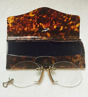 ANTIQUE Silver Tone Spring Bridge PINCE NEZ  SPECTACLES w/ Tortoise Looking Case