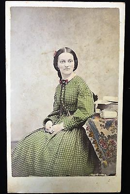 Hand-Painted Beautifully Tinted Green Pretty Lady Carte De Visite Cdv Photo 2429