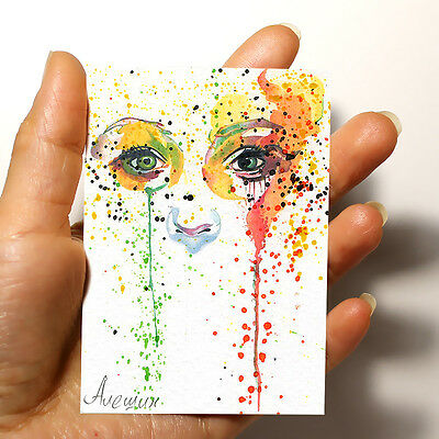 "ORIGINAL MINIATURE ART PICTURE WATERCOLOR PAINTING ""Eyes"" ACEO signed by artist"