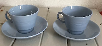 Two Woods Ware blue cup and saucer