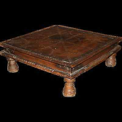 19th c Hardwood Indian Low Table with Metal Banded Top and Punchwork