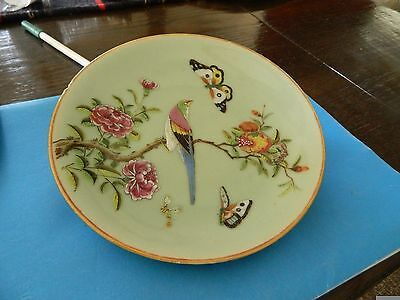 "7.5"" Diameter Chinese Celadon Plate w/ Famille Rose, bird and butterflies"
