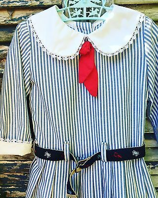 Vintage Nautical Blue and White Striped Dress with Lobster Belt Preppy Sailor