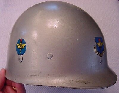 EARLY M1 HELMET LINER w/ ARMY AIR FORCES TRAINING & AIR TRAINING COMMAND DECALS