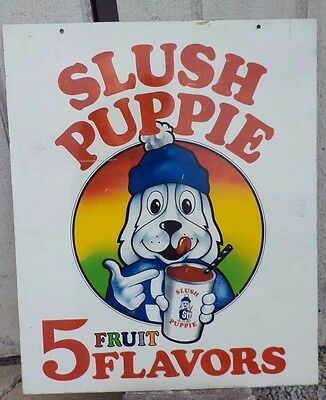 "Vintage Slush Puppie Soda Pop Fountain Gas Station 2 Sided 30"" Metal Sign Ice"