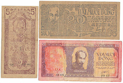 Vietnam lot 3 billets 5+20+50 dông 1947-48 Ho-Chi-Min / Viet Nam set 3 notes