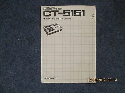 Vintage Pioneer Cassette Tape Deck CT-5151 Operating Instructions