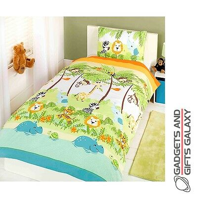 JUNGLE BOOGIE ANIMAL THEMED SINGLE DUVET COVER BED SET kids childs bedroom