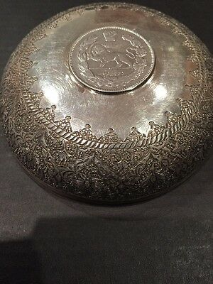 Persian Qajar Hallmarks Solid Silver Coin Dish Handcrafted 64.2g Antique