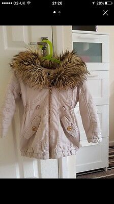 Girls River Island Fur Hood Coat Age 2-3 Years