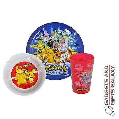 OFFICIAL POKEMON 3 PC DINNER SET BOWL PLATE CUP Kids childs kitchen accessory