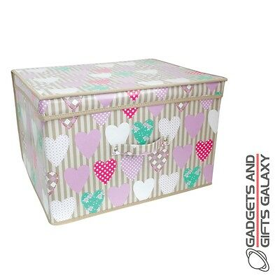 KIDS FOLDING STORAGE CHEST PURPLE HEARTS BEDROOM TOY BOX Girls accessory