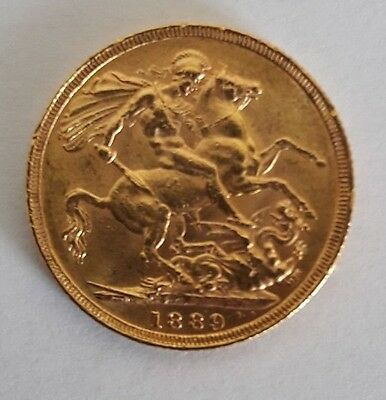 1889 Gold Sovereign : Victoria Jubilee Head St George London Mint