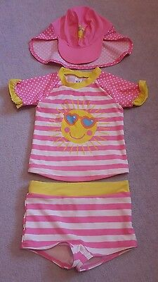 Pink Sunshine 3 Piece Girls Beach Tankini Cover Up Set 2-3 Years George