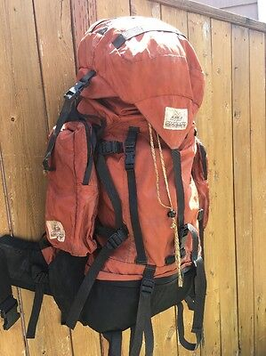 Vintage GREGORY BACKPACK Classic ORANGE Hiking Pack Made In USA Brown Label