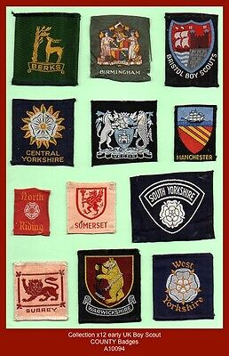 Collection x12 early UK Boy Scout COUNTY BADGES (with obsolete varieties)