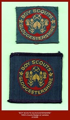 "c.1950's ""BOY SCOUTS GLOUCESTERSHIRE""  Boy Scout Variety County Badges x2"