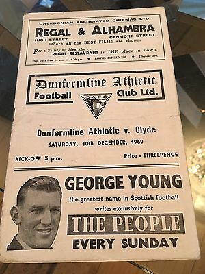 Dunfermline Athletic V Clyde Programme 10/12/60