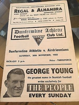 Dunfermline Athletic V Airdrome Programme 26/11/60