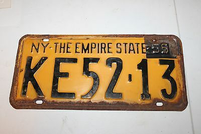 VINTAGE 1955 NEW YORK LICENSE PLATE with 1956 TAB