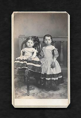 Amazing Antique Original Cabinet Photo Of 2 Upset Little Girls In Matching Dress