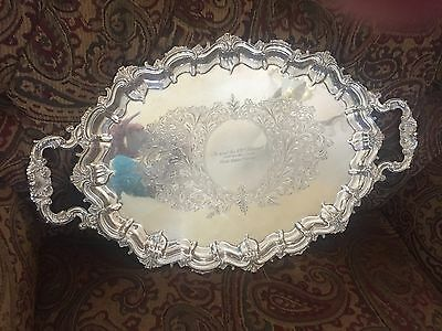 Fancy Shell Pattern Sterling Silver Tea Coffee Serving Tray