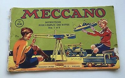 Meccano Outfit No.7 & 8 Booklet Instructions Manual c1940s French