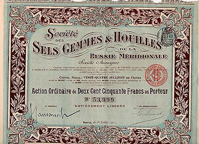 1911 Societe des Salts Gemmes & Coal of the South Russia Share Bond + coupons