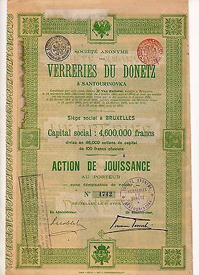 1906 Society of the Glassworks of Donetsk Share Bond + coupons