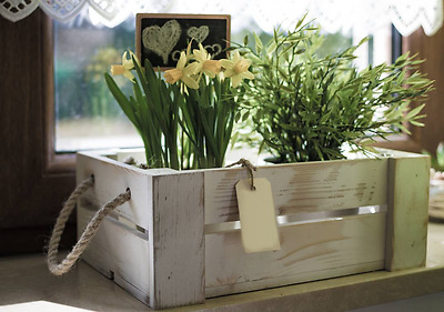 Vintage shabby chic hand made wooden crate decoration KITCHEN, HOME, bathro * HQ