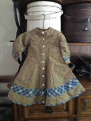 Moprimitivepast Antique Girls Brown & Blue Dress 1890s Lined Stunning  Aafa Prim