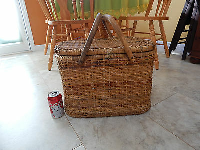 Antique vtg wicker hand woven Bamboo wood handle lid hinge Basket large picnic