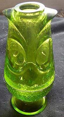 Antique Green Glass Figural 2 Part Owl Fairy Lamp Candle Holder