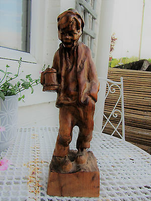 Super Vintage German Black Forest man figure statue Carved wooden carving signed