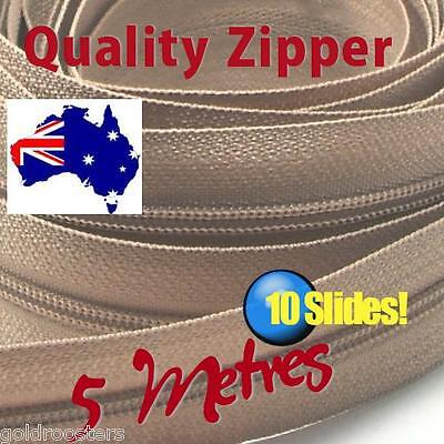 Beige Continuous Zip & Slides (size no 3) 5 metres Zipper Upholstery Cushions