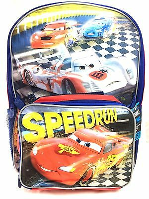 """NEW Disney Pixar Cars 3 16"""" Canvas Red School Backpack w/Detachable Lunch Bag"""