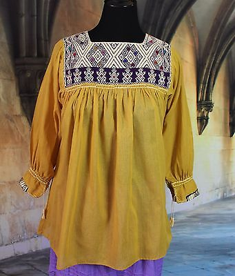 Purple & Gold Hand woven Blouse Mayan Chiapas Mexico Hippie Boho Peasant Cowgirl