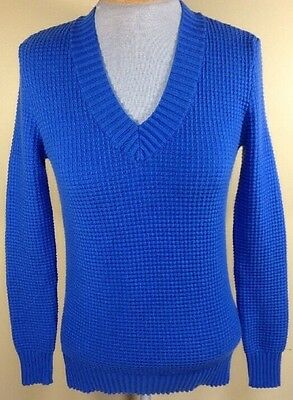 Tommy Hilfiger Womens Small Blue Knit Sweater V Neck Long Sleeve Cotton Blend