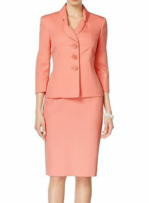 Le Suit NEW Pink Womens Size 4 Three-Button Textured Skirt Suit Set $200 244